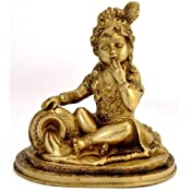 "Redbag - Baby Krishna - Brass Statue (7.50""H X 7.50""W)"