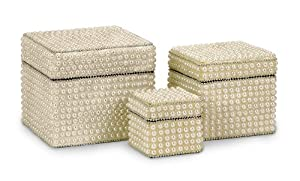 Set of 3 Elegant Handcrafted Pearl Finish Storage Boxes with Lids