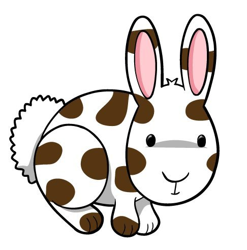 Animal Wall Decals - Brown, White Spotted Rabbit - 36 Inch Removable Graphic front-1025235