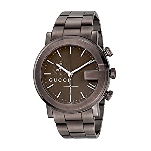 Gucci G-Chrono Collection Men's Quartz Watch with Brown Dial Chronograph Display and Brown Stainless Steel Plated Bracelet YA101341