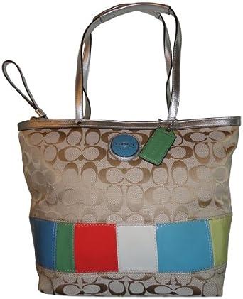coach signature stripe shopper book bag tote 17426 multi handbags