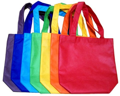 "ColorYourLife 7-Pack Non-woven Reusable Kids Carrying Shopping Grocery Tote Bag for Party Favor in Retail Packaging -10"" Assorted Colors"