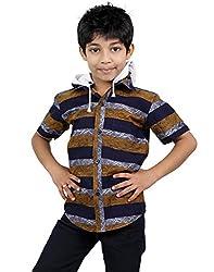 Zeal Boy's Striped Half Sleeves Cotton Shirt