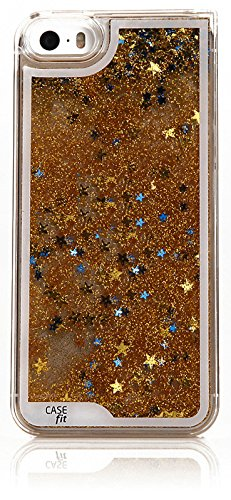 Iphone5 Aqua Sparkling Star Case, Apple Iphone 5S Hard Cover 5 Colors - Retail Packaging (Gold Stars)