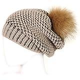 Futrzane Faux Fur Winter Knitted Hat Pom Pom Beret