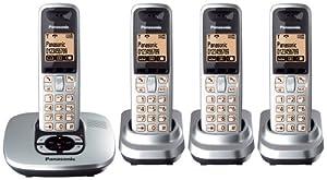 Panasonic KX-TG6424ES DECT Quad Digital Cordless Phone Set with Answer Machine in Silver
