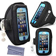 buy Wisdompro® Iphone 5S /5 /5C & Ipod Touch 5 /6 Armband For Otterbox Defender /Commuter Series /Lifeproof Cases [Armband With Headphones Organizer & Key Holder] (Black)