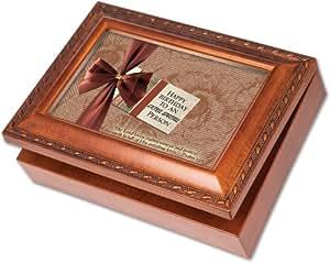 Cottage Garden Happy Birthday Woodgrain Music Box / Jewelry Box Plays Happy Birthday