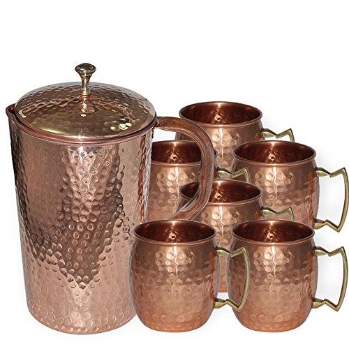 DakshCraft ® High Quality Pure Copper Jug With 6 Pure Copper Hammered Moscow Mule Mug Set (Pitcher Sets Gold compare prices)