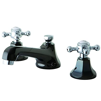 Kingston Brass NS4467BX Water Onyx Widespread Bathroom Faucet with Brass Pop-Up Drain, 5-1/2-Inch, Black Nickel/Polished Chrome