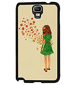 Printvisa Green Dress Girl Admiring Flowers Back Case Cover for Samsung Galaxy Note 3 Neo N7505