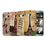 Kwmobile® 5in1 set: 4x Hard case City design for HTC One M8 / Dual / Eye in Paris, Pisa etc. + Skin, crystal clear