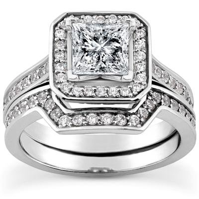 1.73 Ct Tw Princess Cut Diamond Modern Style Engagement Ring With Form Fit Matching Wedding Band Rings In 18 Kt White Gold In Size 12