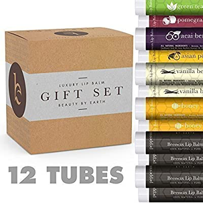 Lip Balm Gift Set - Pack of 12 Tubes of Beauty by Earth's Best Selling Beeswax Lip Care - 100% Natural Ingredients Including Coconut Oil and Aloe Vera - Flavors: Peppermint, Green Tea, Acai Berry, Asian Pear, Pomegranate, Honey and Vanilla Bean - Made in