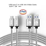 iHubr, SPECIAL SET - 2 PACK - 6.6 Ft (2M) Length, USB C Cable to USB 3.0, Nylon Braided Cable, Gray Color, Metal Housing, for New Macbook, Nokia N1, Nexus 6P/5X and Other Type-C Supported Devices