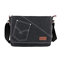 OXA Canvas Messenger Bag Shoulder Bag Laptop Bag Computer Bag ipad Bag Book Bag Travel Bag Purse Daypack School Bag Satchel Bag Work Bag Business Bag Fits Most 14 inch Laptop Black