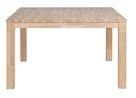 Table à manger chêne massif pieds 8 x 8 cm, H 78 x L 130 x P 130 cm - PEGANE -
