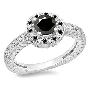 1.00 Carat (ctw) 14K White Gold Round Black & White Diamond Bridal Halo Engagement Ring 1 CT (Size 5)