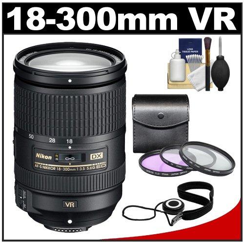 Nikon 18-300mm f/3.5-5.6G VR DX ED AF-S Nikkor-Zoom Lens with 3-UV/FLD/CPL Filters, Accessory Kit