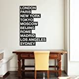 10 Cities Of The World Wall Sticker - Removable Decal Office London New York Paris Typography