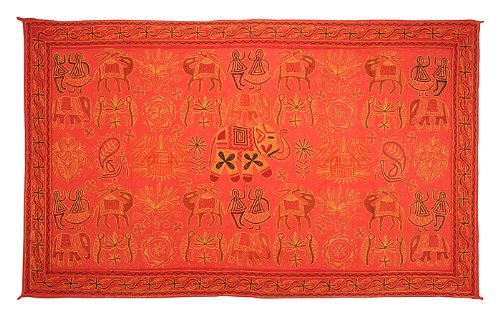 Imagen 2 de Algodón indio Tapiz de pared colgante con Zari y tamaño del bordado tradicional de trabajo 54 x 33 pulgadas