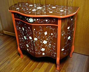 Mother of Pearl Inlay Lacquered Arabesque Flower Design Wood Cherry Color Drawer Hall Console TV Stand Sofa Table