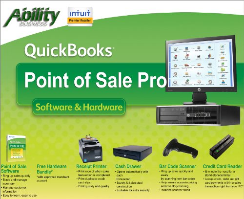 "Intuit Quickbooks Point Of Sale Pro 2013 With Hp 4300 Computer And 18.5"" Led Monitor back-1022854"