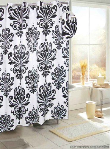 Carnation Home Fashions Beacon Hill Black And White Ez-On No Hooks Needed Peva Shower Curtain, 72-Inch By 72-Inch