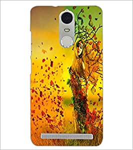 PrintDhaba Leaf Girl D-2409 Back Case Cover for LENOVO K5 NOTE (Multi-Coloured)