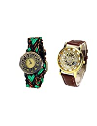 COSMIC COUPLE WATCH- MULTICOLOR DESIGNER ANALOG WATCH FOR WOMEN AND BROWN SKELETON WATCH FOR MEN- PACK OF 2 - B01C8HS8CY