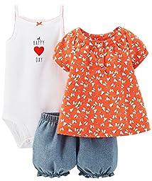 Carter\'s 3 Piece Print Romper Set (Baby)-Orange-6 Months