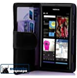 Cadorabo ! PREMIUM - Buch Style Hülle im Portemonnaie Design für Nokia Lumia 800 in KAVIAR-SCHWARZ