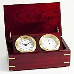 Clock and Thermometer in Rosewood Box
