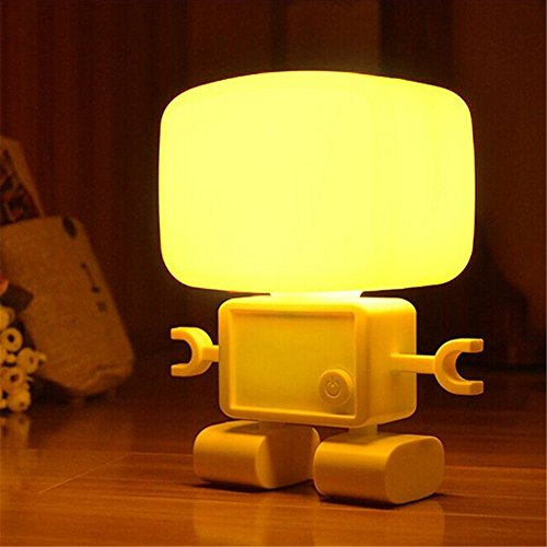 Finegood Intelligent Cute Robot Night Table LED Sound Voice Control Lamp LED Night Bedside Desk Light with USB Rechargable Built-in Battery Used in Bedroom, Bathroom and Baby Room Or for Reading Writing