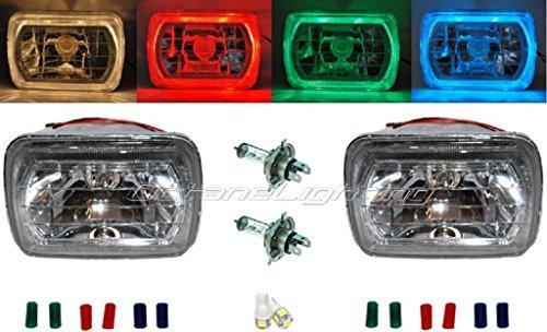 Octane Lighting 7X6 Crystal Clear Red/Green/Blue Led Halo Ring Headlamp H4 Light Bulb Headlights