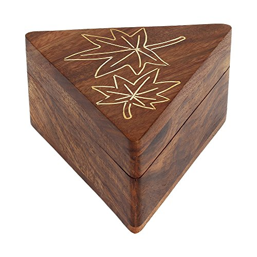 Decorative Triangle Shaped Wooden Small Keepsake Jewelry Trinket Ring Box Organizer Handcrafted with Maple Leaf Brass Inlay