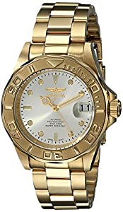 Invicta Pro Diver Unisex Automatic Watch with Beige Dial  Analogue display on Gold Plated Bracelet 9010