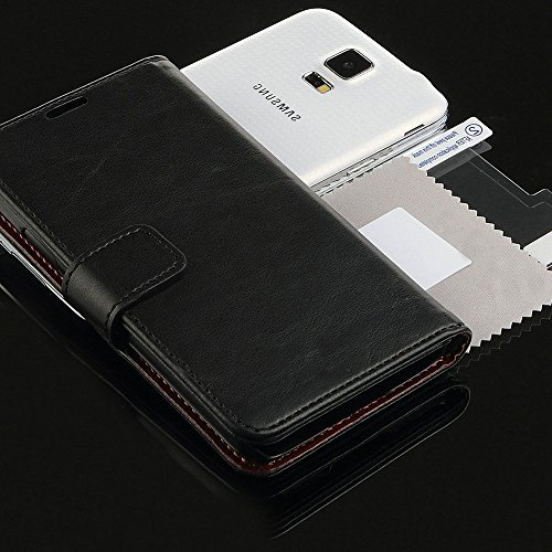 myLife Sleek jet Black - Classic Design - Koskin Faux Leather Card - Cash and ID Holder Magnetic Detachable Closing Hand Strap Slim Wallet for NEW Galaxy S5 5G Smartphone by Samsung External Rugged Synthetic Leather With Magnetic Clip Internal Secure Snap In Hard Rubberized Bumper Holder