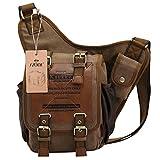S-ZONE Vintage Canvas Leather Shoulder Military Utility Messenger...