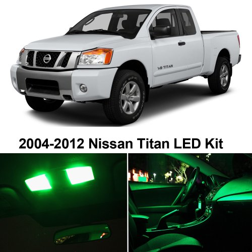 Nissan Titan 2004-2014 Green Premium Led Interior Lights Package Kit (10 Pieces)