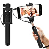 Selfie Stick : Stalion Selfy Handheld Extended WIRED Monopod Portrait Taker & Video Recorder (Jet Black) UNIVERSAL FIT for iPhone 6 6s Plus, Galaxy S7 S6 Edge+ Note 5 and smartphones
