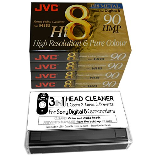 4-jvc-8mm-video-cassettes-plus-cleaning-tape-for-sony-digital-8-camcorder