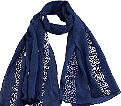 AngelShop Women National Wind Large Cotton Embroidered Scarves