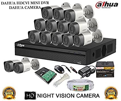 Dahua DH-HCVR4116HS-S2 16CH Dvr, 14(DH-HAC-HFW1000RP-0360B) Bullet Camera (With Mouse,2TB HDD,Cable, BNC&Dc Connectors,Power Supply)