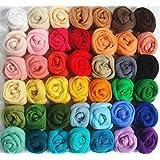 Generic Wool Fibre Roving for Needle Felting Hand Spinning DIY Fun Doll Needlework Raw Wool Baize Poke Fun 5g/bag 36pcs Mix Colors