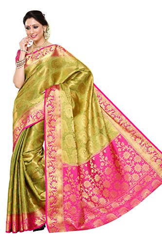 Mimosa Women\'s Traditional Art Silk Saree Kanchipuram Style, color :Olive(3247-201-OLV-RNI)