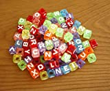 DIY アルファベットビーズ 可愛い半透明カラフル文字ビーズ 100個セット 6mm 手作り手芸 Loom Bands refill Pack Transparent Letter beads for Loom bands