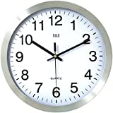 HITO 12 Inches Silent Non-ticking Wall Clock w/ Metal Frame and Acrylic Front Cover (Silver-Arabic)
