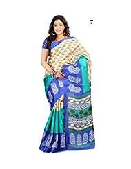 Daily Wear Beige Floral Print Bhagalpuri Silk Saree