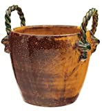 Vietri Extra Small Amber/Green Handled Cachepot
